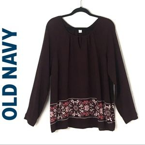 Old Navy Long-sleeve Burgundy w/Floral Print Top